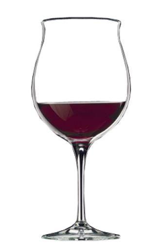 Bicchiere per i grandi vini rossi:ampio,panciuto che facilita l'ossigenazione ma non disperde i sapori. Vini consigliati: Montefalco, Sassicaia, Sito Moresco,Barolo