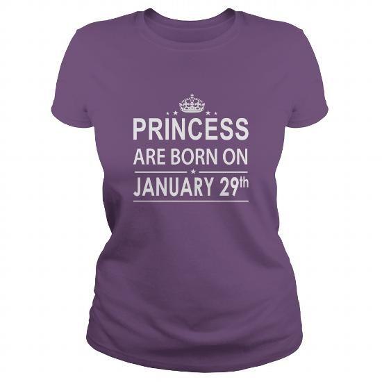 Awesome Tee 0129 January 29 Birthday Shirts Princess Born T Shirt Hoodie Shirt VNeck Shirt Sweat Shirt Youth Tee for Girl and Men and Family T-Shirts
