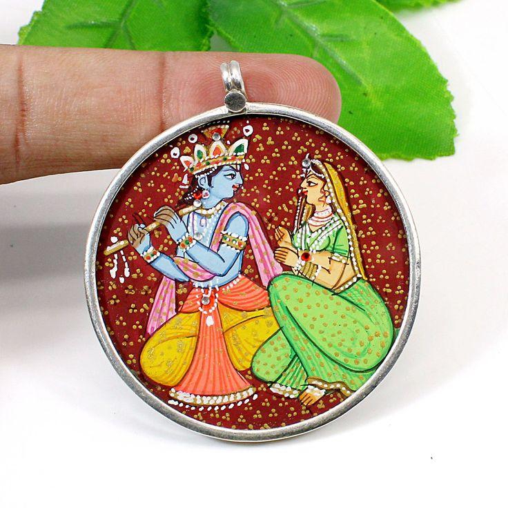 Charm Necklace Tribal Pendant Handmade Handpainted 92.5 Sterling Silver Glass Framed Indian Miniature Art Hindu God Krishna Pendant