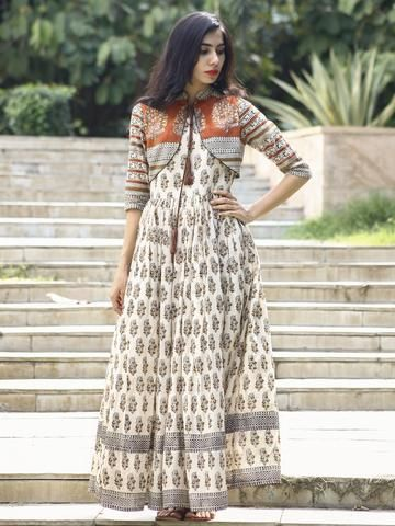 901114bb51 Ivory Rust Mustard Black Hand Block Printed Long Cotton Dress with Gathers    Tassels - DS14F002