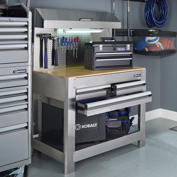 Shop Kobalt 45-in W x 36-in H 3-Drawer Wood Work Bench at Lowes.com