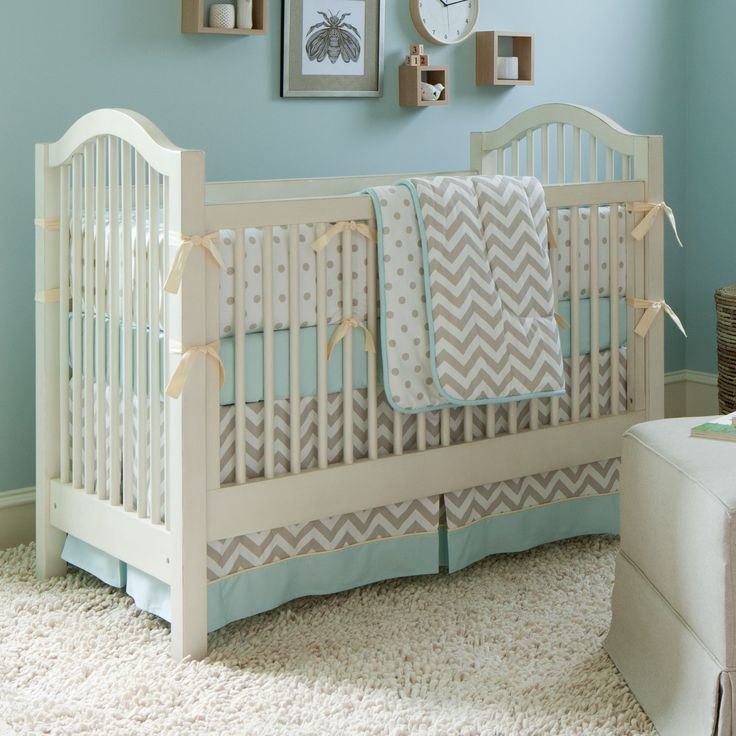 Taupe Zig Zag Crib Bedding | Boy or Girl Baby Bedding | Carousel Designs