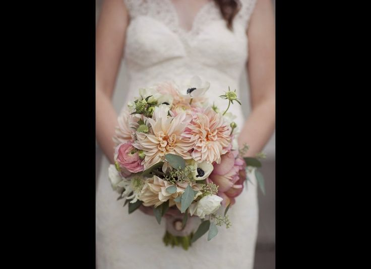 Love the soft color palette.: Wedding Inspiration, Wedding Ideas, Color, Wedding Bouquets, Dahlias, Wedding Flowers, Anemone Bouquet, Blush