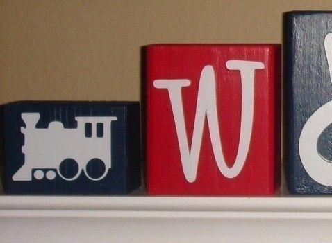 PERSONALIZED TRAIN BLOCKS - Nursery Kids Room - Choo Choo - Thomas Engine - Boy - Wooden Letters - Custom - Shelf Name