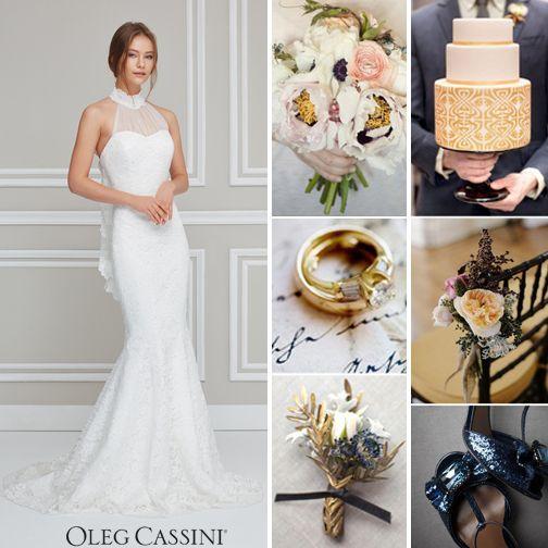 8952047327470 Boyundan bağlı dantel gelinlik modeli ile lacivert, altın rengi ve  tonlarıyla hazırlanmış bir düğün konseptine