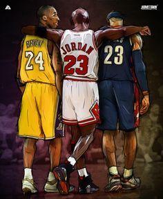Kobe Bryant x Michael Jordan x LeBron James Illustration