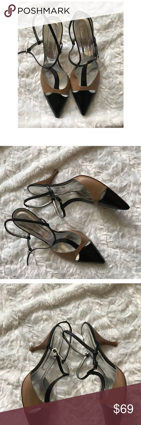 "Saks 5th Ave T Strap Heels Gorgeous Italian leather pointy toe heels! Tan and Black ,removable back strap,can be worn as a mule. Side buckle fastening. Wooden 3"" heel,leather sole. Made in Italy. Saks Fifth Avenue Shoes Heels"