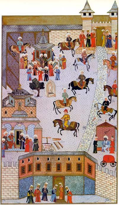 "The first court of Topkapi Seraglio The ""Bab-ı Humayun"" resulted in the first courtyard of the palace. On the left court side were the powder magazine, a well and the Treasury, in the background the ""Bab-ı Salam"" or ""Orta Kapı"" the second court, in front of gatekeepers. Ottoman miniature painting from the ""Hünername"", 1584th Topkapı Sarayı Müzesi, Istanbul (Inventory 1523/15b) © Sarayı Muzesi Topkapi, Istanbul"