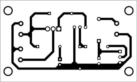 Fig. 3: Actual-size PCB pattern of the PIR motion-sensing SSR switch