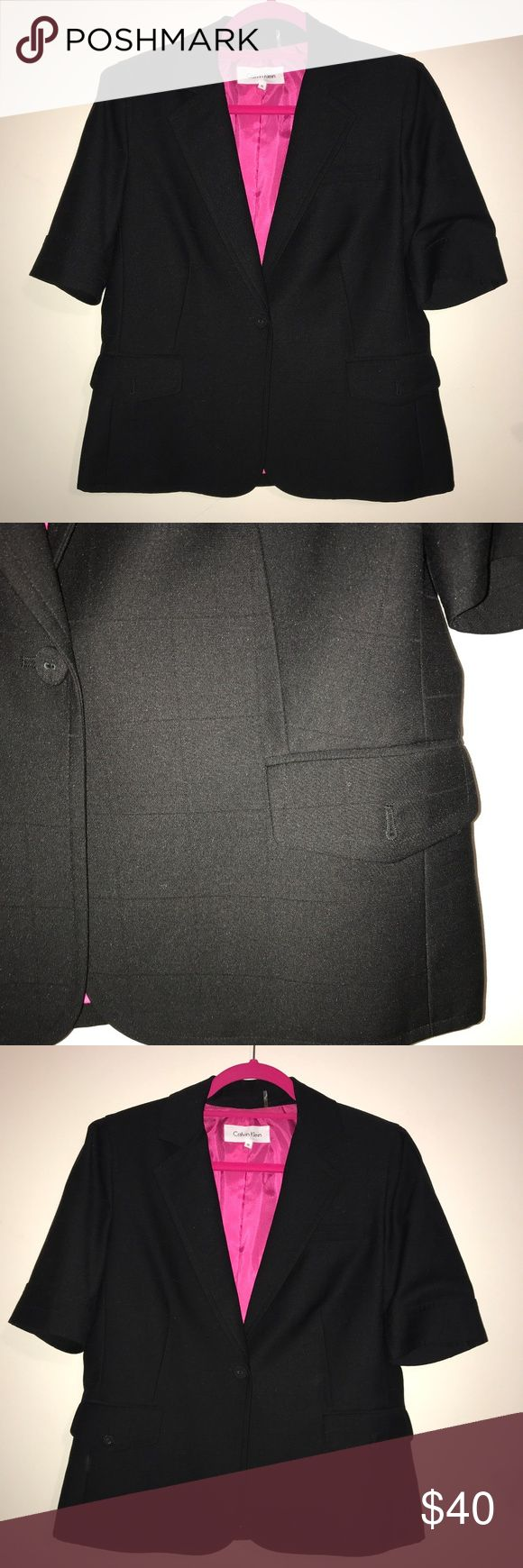 EUC Size 8 Calvin Klein Short Sleeve Black Blazer EUC Size 8 Calvin Klein Short Sleeve Black Blazer with hot pink lining. Stunning piece for your basic pant or skirt suits, especially to tailor them for summer. Snag this beauty while you can! One button closure and button front pockets. See photos for details. Calvin Klein Jackets & Coats Blazers