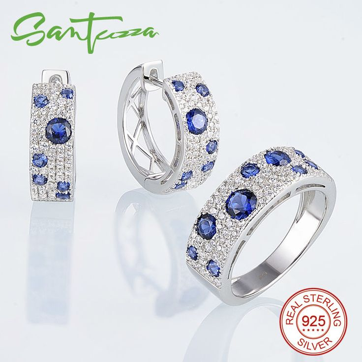 Jewelry Set for Women Blue Nano CZ Diamond Jewelry Set Earrings Ring Set 925 Sterling Silver Jewelry Set