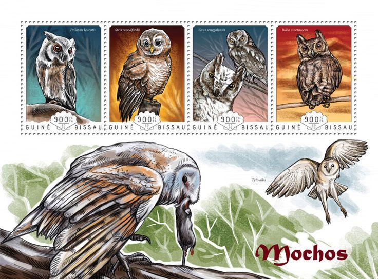 Post stamp Guinea-Bissau GB 14607 aOwls (Ptilopsis leucotis, {…}, Bubo cinerascens)