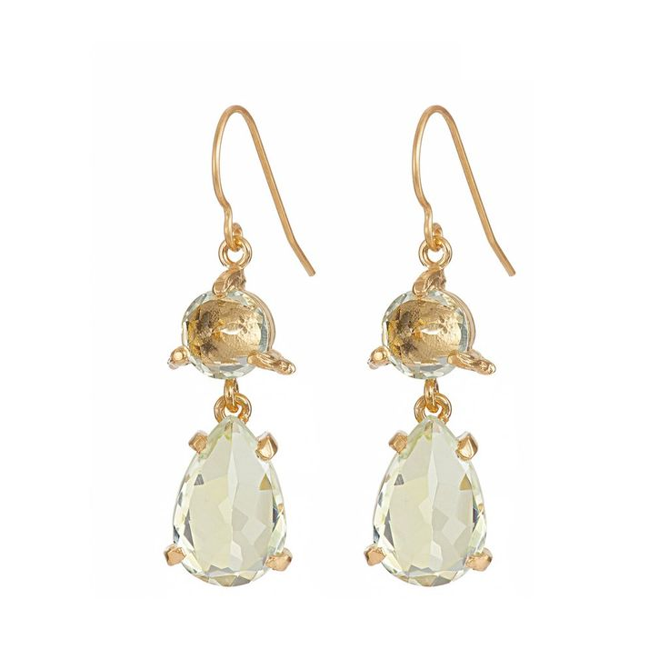 In The Wild Earrings Prasiolite in Gold