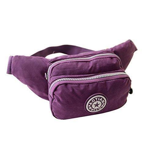 Oferta: 30€. Comprar Ofertas de Penagy Mujer Bolso de Cintura Riñonera Tela Lavada Multi-Función Moda Casual para Deporte Senderismo Púrpura barato. ¡Mira las ofertas!