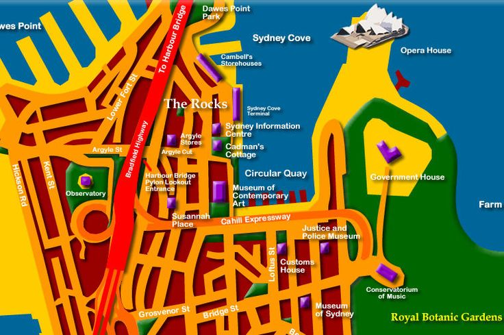 Map to the Sydney Opera House - Click to Zoom Out