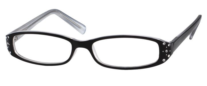 Frame with inset rhinestones plus light & thin Rx lenses, UV & Scratch coatings, and polished edges.