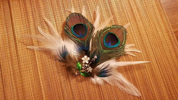 Bridal Hair Clip Bridal Feather Fascinator, Feather Hair Piece, Wedding Hair Accessory, ivory feather hair clip, Bridal feather fascinator