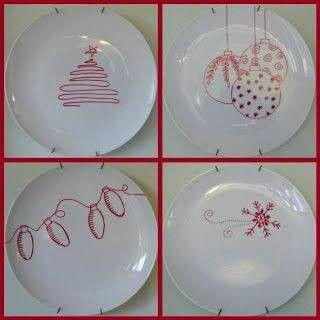 Plates using sharpies.