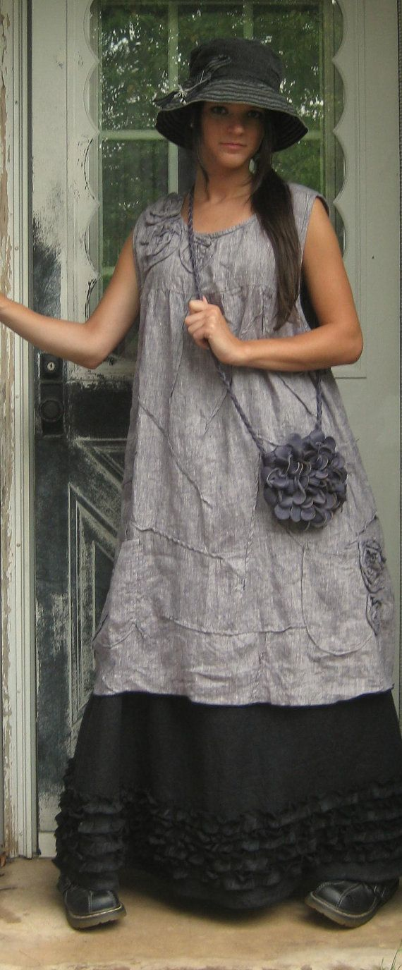 Purpley Linen Rose Scrunchy Smock Dress.