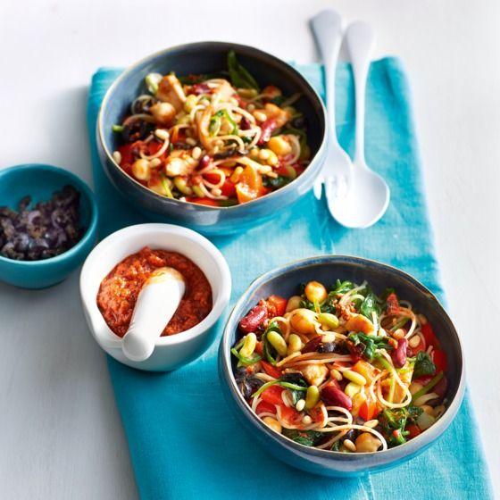 Het recept van de dag is: Pestopasta met bonenmix, spinazie en kip!