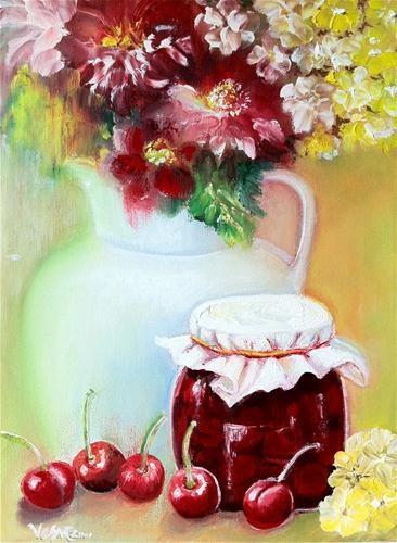 """Cherry Jam"" - Original Fine Art for Sale - © by Vesna Andjelkovic"