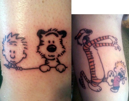 love me some Calvin & Hobbes tats    Done by Jim LoPresti at Lucky Soul Tattoo in Woodbridge, CT.