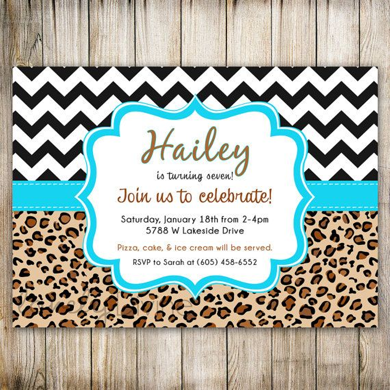 Leopard Turquoise Chevron Birthday Invitation, 1st Birthday Invitation, 2nd Birthday Invitation, 3rd, 4th, 5th, 6th, 7th, 8th, PRINTABLE