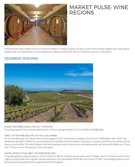 MARKET PULSE: WINE REGIONS Presenting the latest insights from our extensive network of industry leaders, we take a closer look at what's happening in select global markets that are influenced by the wine production industry. From South Africa to California and more, read below!  #PalmBeachRealEstate#KevinMLeonard#LuxuryAgent#PalmBeach#LuxuryPortfolio
