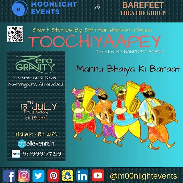 Toochiyaapey comes to Ahmedabad! See you Thursday, July 13th at @zero_gravity_cafe Tickets available on @allevents.in Mannu Bhaiyaa Ki Baarat - A deep satire on the dowry system and the ways in which the groom's side tries to have an upper hand over the bride's side. The writer compares thebaratisto pickpockets and goons and lunatics trying to extort the last penny from the bride's father.#m00nlightevents #MoonlightersArise #storytelling #ahmedabad #Mumbai #act #traveling #show #live…