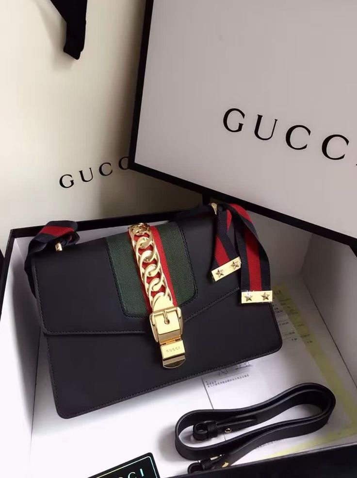 Gucci Sylvie Leather Shoulder Bag Black.  Find more Gucci handbags at http://www.luxtime.su/gucci-bags