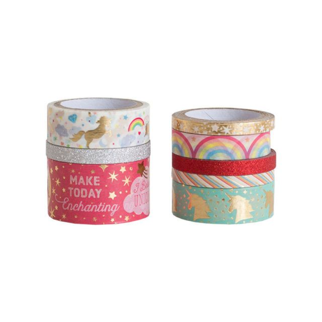 Recollections Planner Washi Tape Tube Pink Gold 14 ROLL Tea Party Happy Unicorn