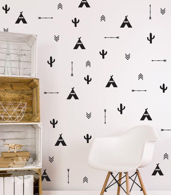 Tee Pee Cactus pijl gemengde muur sticker / Tee Pee muur