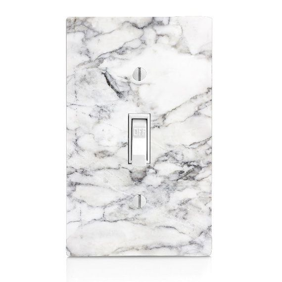 Light Switch Cover  White Stone Marble single by SwitchCoverSupply