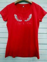 2014New women Embroidered Cotton print T shirt Best Buy Best Seller