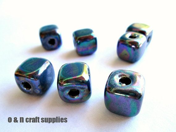 Cube greek ceramic beads iridescent blue  set of 4 by OandN, $3.60