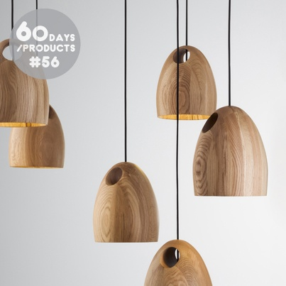#56. Oak by Ross Gardam is a solid FSC timber pendant light. Each light shade is hand crafted and defined by the grain of the oak selected.
