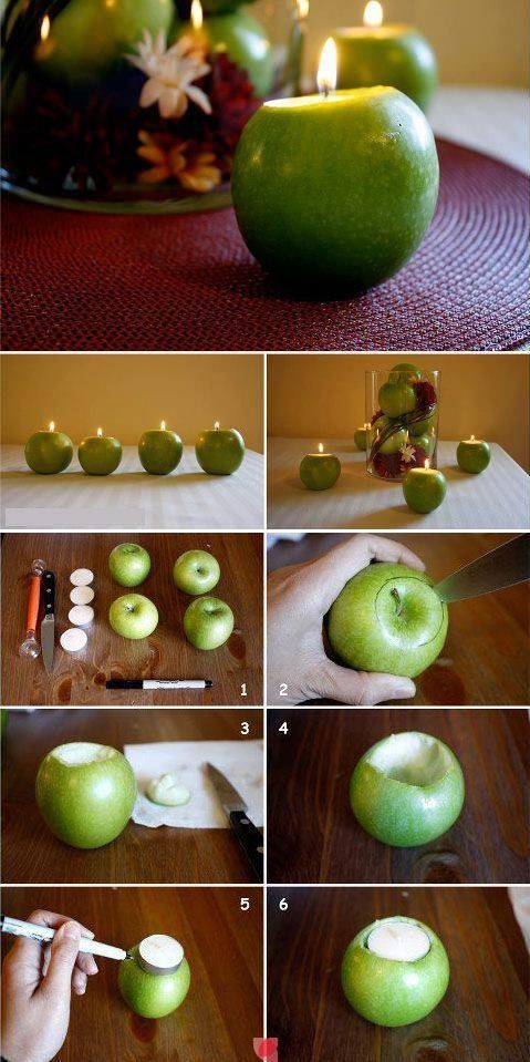 DIY Apple Candles - How cute would red and green apples be for Christmas