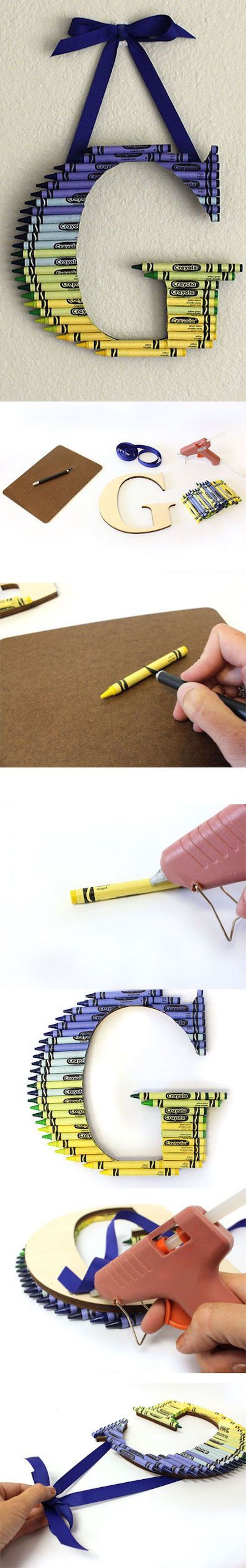 The 11 Best DIY Teacher Gifts. Love this crayon monogram. One of the best I've seen!