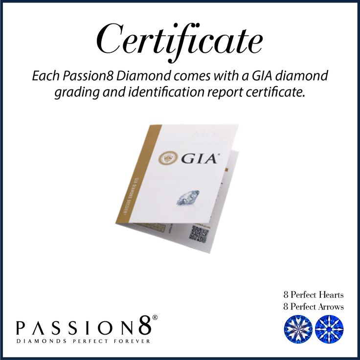 Another important factor defining the value of Passion8 diamonds is that we send each of our gemstones to an internationally recognised and respected independent gemological trade laboratory for identification and grading. For your assurance,we sell each Passion8 diamond with its unique Gemological Institute of America (GIA) diamond grading and identification report certificate.