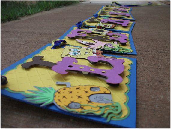 Handmade Banner - Custom made - GO GREEN - Name Banner Happy Birthday Baby Shower Bridal Shower SpongeBob. $35.00, via Etsy.