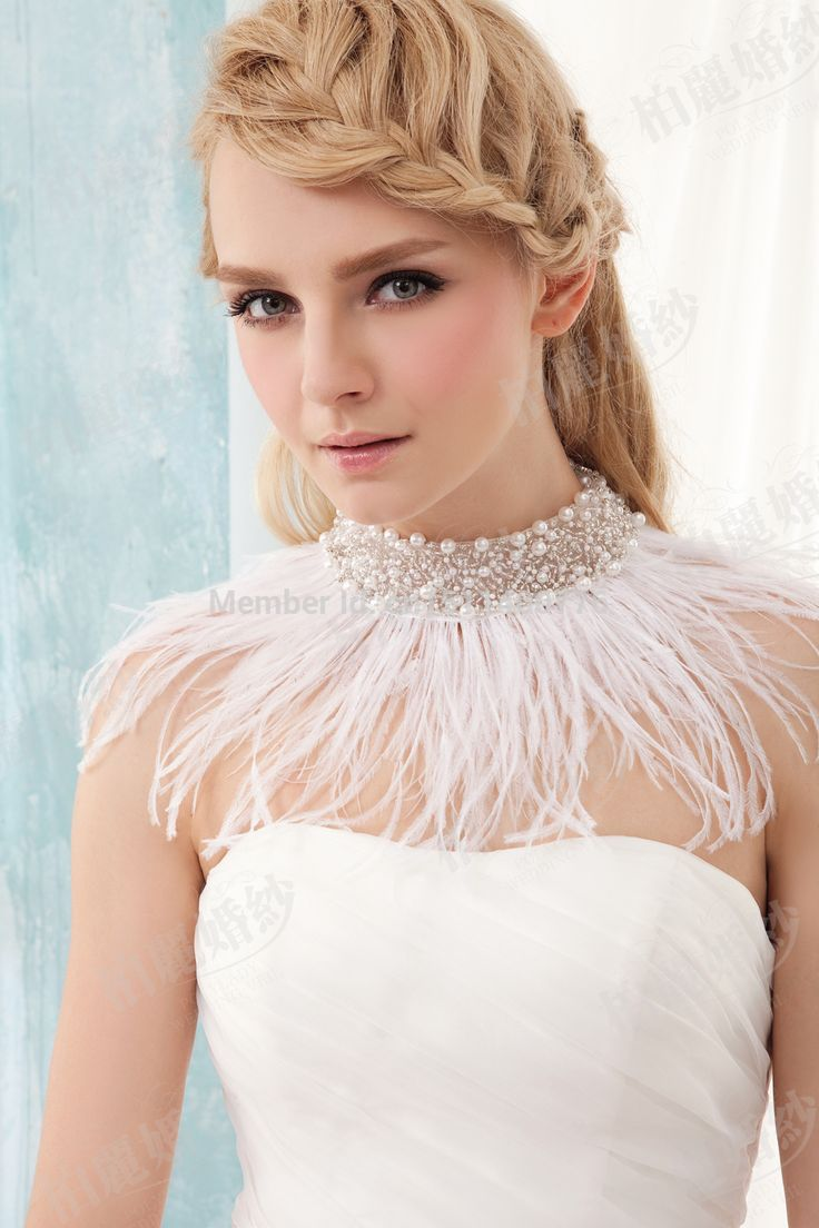 Stunning Elegant Women 2015 Real Ostrich Feather Pearls Beads White Bridal Bolero Jacket Wrap Shawl Prom Wedding Accessory B79-in Wedding Jackets / Wrap from Weddings & Events on Aliexpress.com | Alibaba Group