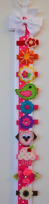 """Amazon.com: Set of 10 Handmade Hair Clips & Holder (1 3/4"""" alligator clip (All Ages), Felt Clips on Hot Pink Bow Holder): Clothing"""