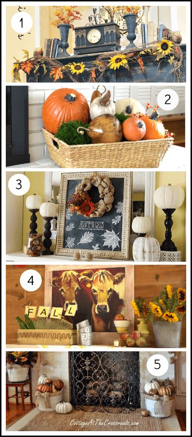 Fall Mantel Ideas Put pumpkins on top of gold candlesticks