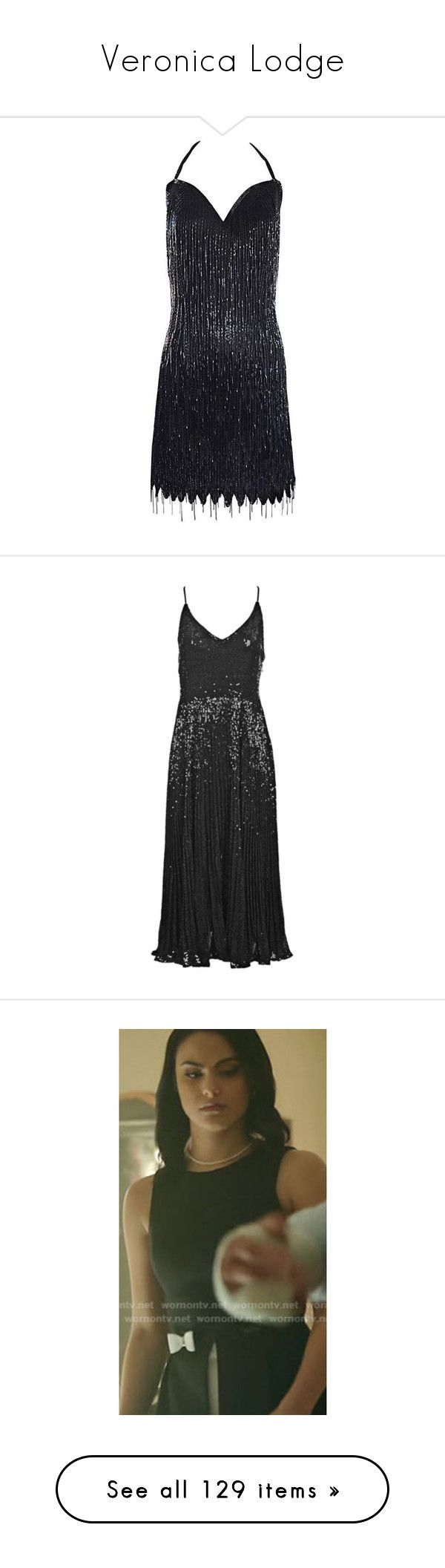 """""""Veronica Lodge"""" by rebellious-ingenue ❤ liked on Polyvore featuring riverdale, dresses, black, cocktail dresses, beaded flapper dress, fringe dresses, gatsby dress, halter dress, vintage beaded dress and pleated dress"""