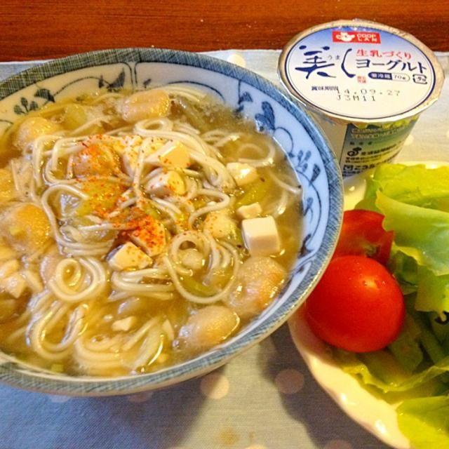 今朝は台風の影響か、それほど気温は下がってませんが、 温かいお汁物に温麺入れました❤️  これだけでお腹いっぱい。 モモちゃん、ありがとう - 24件のもぐもぐ - 温麺入りのおくずかけ❤️ by lalanoir