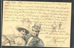 HA063 MM VIENNE Nr ? COUPLE HAT WINTER SNOW ICE SKATING NEIGE PATINAGE 1903  | En vente sur Delcampe
