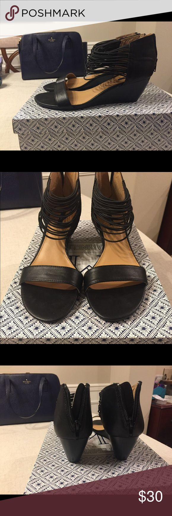 Black wedge sandals Brand new, never been worn, black wedge sandals. I don't have the original box but these are brand new. IXX Shoes Wedges