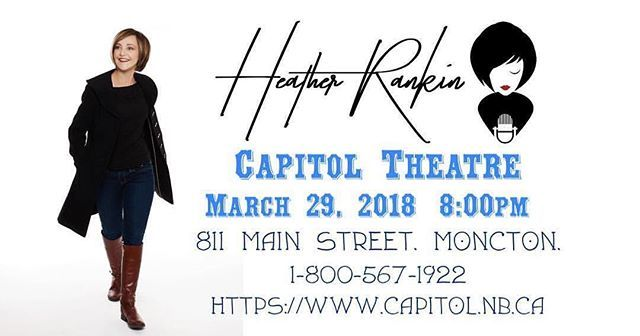 From @heatherrankinmusic  Hey #Moncton! Id love your help spreading the word about my show @capitolmoncton on March 29! Its going to be a great night! . . . #NewBrunswick #Singer #Songwriter #Singing #Performance #Performing #Show #Music #CanadianMusic #ComeToMyShow #Performer #CapitolTheatre #Spring #FolkMusic #SingerSongwriter #CountryMusic #CelticMusic #EastCoast #TheRankinFamily