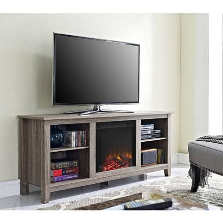 """Walker Edison Wood TV Stand with Fireplace, for TVs up to 70"""""""