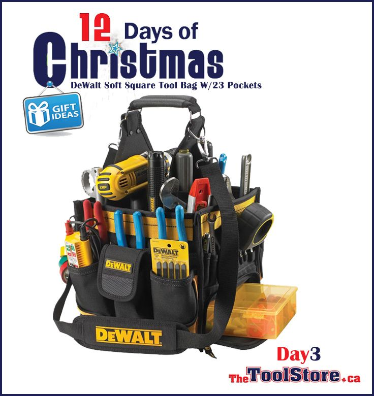 #12DaysofChristmas from @onlinetoolstore - DAY3 - DeWalt Soft Square Tool Bag W/23 Pockets that has an open-top design for excellent visibility and access to tools and parts; large center cavity.
